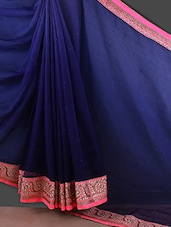 Shaded Navy Blue Embellished Saree - Style Mania