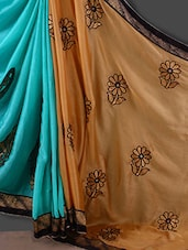 Beige And Turquoise Floral Patterned Satin Saree - Style Mania