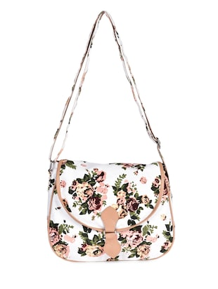 Floral Printed Cream Sling Bag