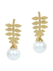 Leaf Pattern Pearl Embellished Earrings - VIDHI