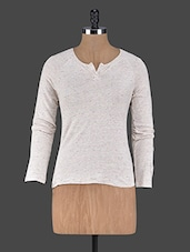 Long Sleeves Plain Cotton Knit Top - Trend 18