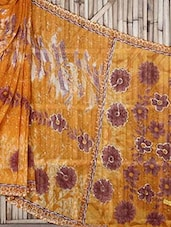 Yellow Floral Print Georgette Saree - Raga