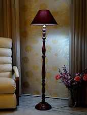 ROYAL BROWN MANGO WOOD FLOOR LAMP WITH SHADE - By