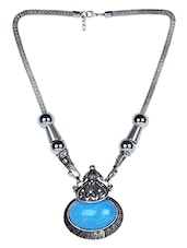 Oxidized Silver Necklace With Turquoise Stone - By