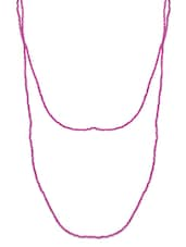 Pink Beaded Long Necklace - By