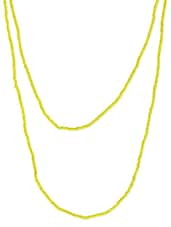 Yellow Beaded Long Necklace - By