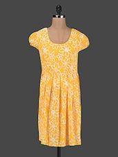 Floral Print Puff Sleeves Box Pleated Dress - Kwardrobe