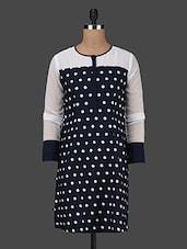 Polka Dot Printed Round Neck Crepe Dress - Kwardrobe