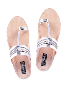 Silver leatherette ethnic sandals