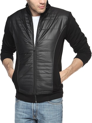 black nylon casual jacket