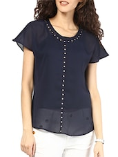 Navy Blue Stud Embellished Polyester Top - MARTINI
