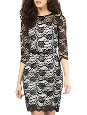 Black & White Lace Bodycon Dress - MARTINI