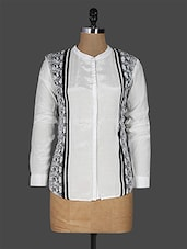 White Art Silk Long Sleeve Shirt - EWA Women