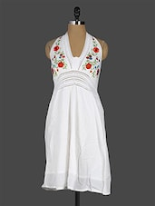 Floral Embroidered Halter Neck White Dress - EWA Women