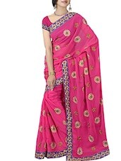 pink georgette embroidered saree  available at Limeroad for Rs.1999