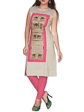 Beigecotton printed kurta -  online shopping for kurtas