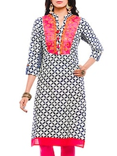 White And Blue Printed Cotton Kurta - By