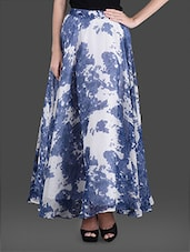 Blue And White Printed Chiffon Skirt - Femella