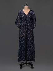 V Neck Printed Kaftan Maxi Dress - Femella