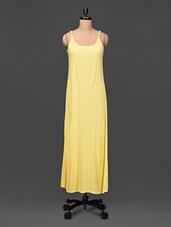 Cami Neck Solid Yellow Maxi Dress - Femella