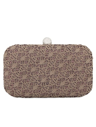 Lace Work Leatherette Box Clutch