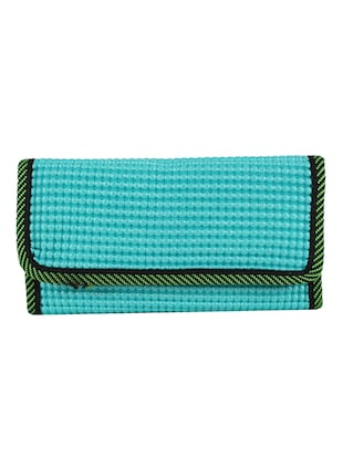 blue leatherette clutch