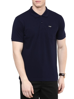 solid dark blue cotton t-shirt