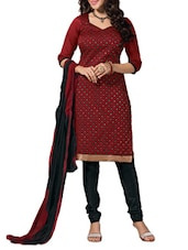 Maroon And Black Unstitched Suit Set - Fabdeal