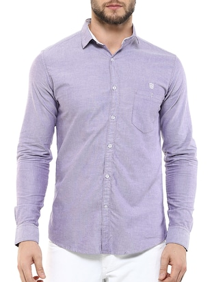 solid light purple cotton casual shirt