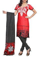Printed Red Unstitched Cotton Suit Set - Aura
