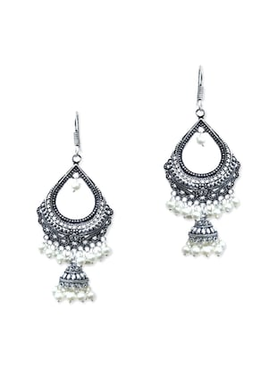 white brass drop earring
