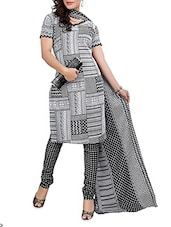 Monochrome Inspired Unstitched Cotton Suit Set - Black Beauty