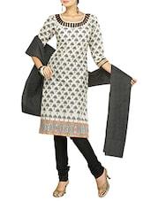Quarter Sleeves Block Printed Cotton Suit Set - Diva