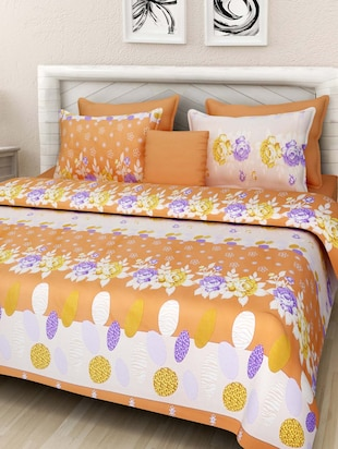 multicolored floral printed cotton double bedsheet set