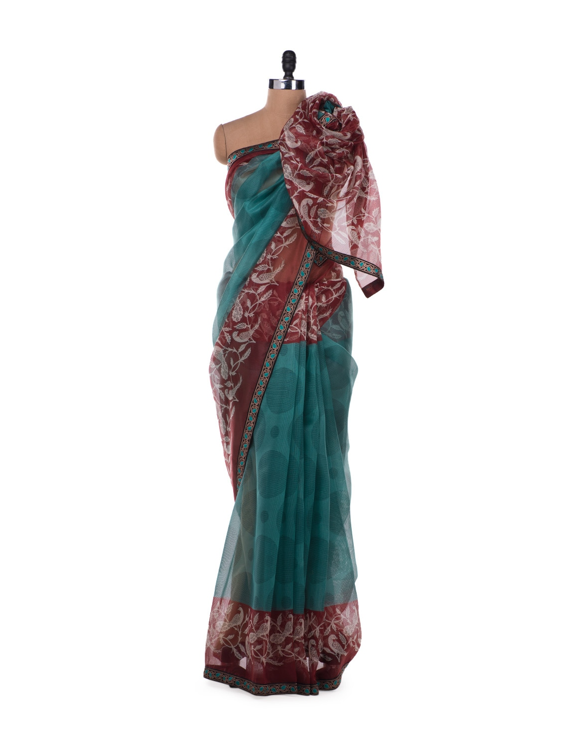 Mint Green And Maroon Peacock Panel Saree - ROOP KASHISH