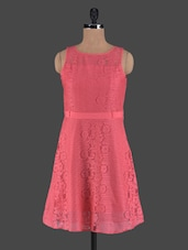 Peachy Pink Sleeveless Cotton Lace Dress - Shubhangini