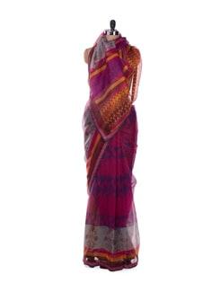 Pink And Purple Fusion Print Saree - ROOP KASHISH