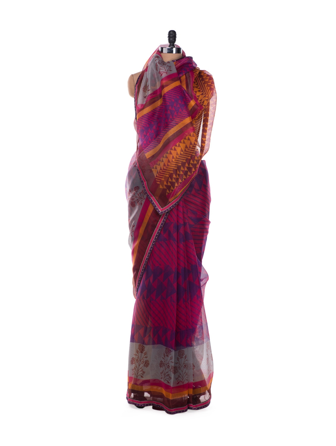 Pink And Purple Fusion Print Saree - ROOP KASHISH