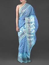 Sky Blue Moonga Check Banarasi Saree - Bunkar
