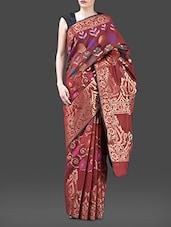 Maroon Jacquard Chanderi Cotton Banarasi Saree - Bunkar