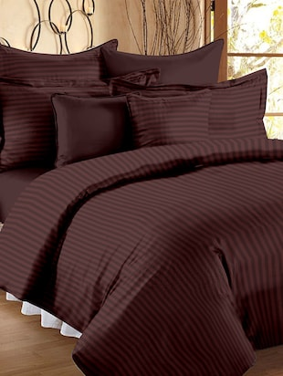 Premium Sateen Weave Double Size Striped Bedsheet with 2 Pillow Covers