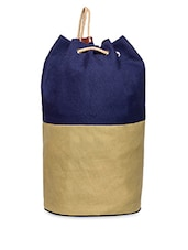 Beige And Blue Color Blocked Canvas Gym Bag - Campus Sutra