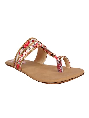 red leatherette printed flat sandal
