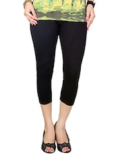 black cotton capri leggings capris -  online shopping for Capris