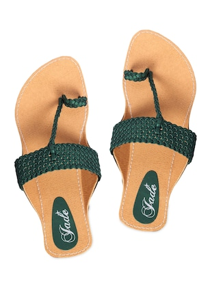 Dark Green Braided Strap Leatherette Flat Sandals