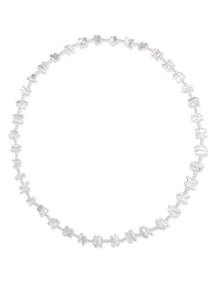 white silver long necklace