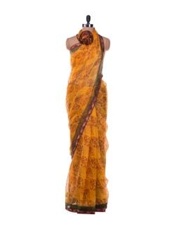 Autumn Leaves Print Saree - ROOP KASHISH