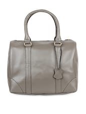 Taupe Genuine Leather Handbag - THIA