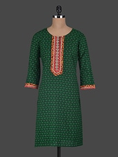 Printed Cotton Round Neck Kurta - Glam And Luxe