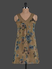 V Neck Floral Printed Polyester Dress - Glam And Luxe